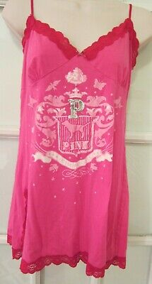 Victoria's Secret Pink Med Bedazzled Slip Gown Nightie Babydoll Lace Chemise