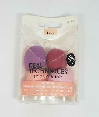 NIB REAL TECHNIQUES RT 4 Miracle Mini Complexion Sponges-- Free Shipping