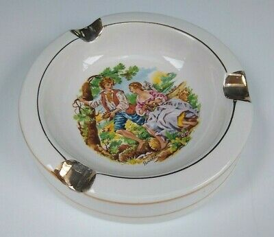 """Sacavem Ceramic Ashtray 4-7/8"""" Courting Couple Vintage made in Portugal"""
