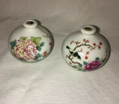Set of 2 Asian Chinese Qing Kangxi Dynasty Handmade Painted Snuff Bottles Vases