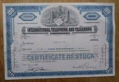 International Telephone & Telegraph Stock Certificate from 1970 number D940910