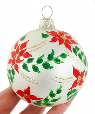 Red Green White Painted Flowers Glass Ball Christmas Ornament Holiday Decoration