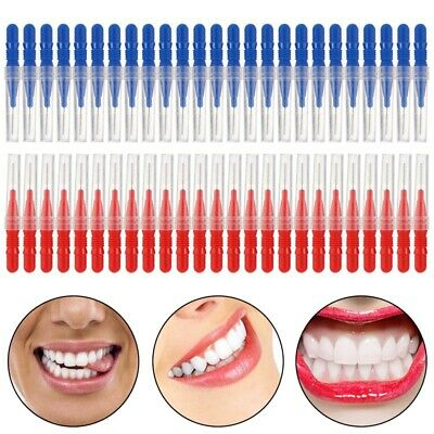 Brush 50pcs Tooth pick Flossing Head Oral Dental Gum Care Teeth Clean Red& B4P2