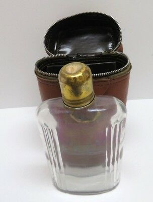 Glass and Brass Travel Flask in Leather Travel Case