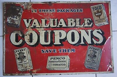 PENNS PENCO TOCO CHEWING TOBACCO TIN SIGN VINTAGE 1930s 40s WILKES-BARRE PA