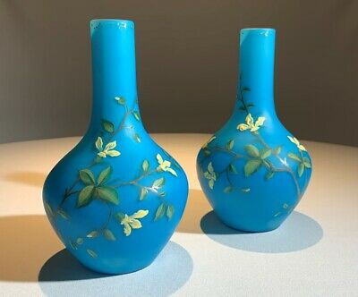 VICTORIAN Pair Turquoise SATIN GLASS Cased Milk Hand Painted Floral VASES 1880's
