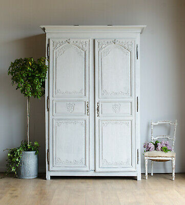 French Antique 19C Oak Knockdown Normandy Armoire / Double Wardrobe Hanging Rail