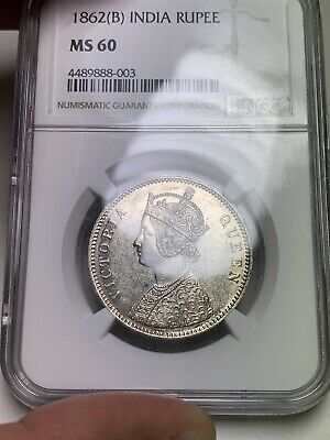 T11 British India 1862B Rupee 4 Dots 0/4 NGC MS 60 Toned Rare 💎 🔝🎯