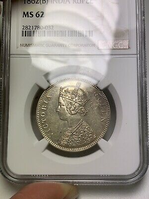 T12 British India 1862B Rupee 4 Dots 0/4 NGC MS 62 Toned Rare 💎 🔝🎯