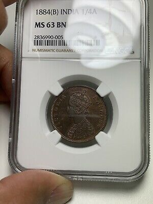 T13 British India 1884B 1/4 Anna Copper Key Rare Date NGC MS 63 BN 💎 🔝🎯