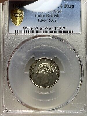 T22 British India 1840C 1/4 Rupee 20 Berries PCGS MS 64 Pop 1 Rare 💎 🔝🎯