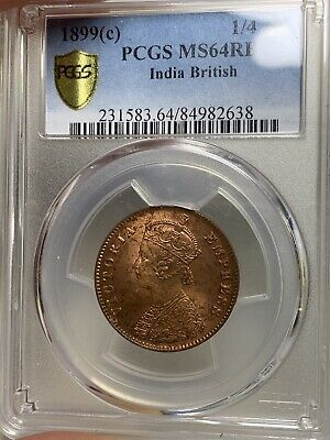 T20 British India 1899C 1/4 Anna Copper PCGS MS 64 RB Pop 1 Rare 💎 🔝🎯