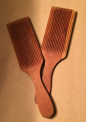 Antique Wood Butter Hand Grooved Paddles (2)