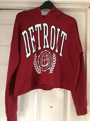 Girls New Look Cropped Hoody Jumper Red Age 14-15 Yrs Used