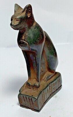 MUSEUM QUALITY SUPERB EGYPTIAN BLACK CAT STATUE CIRCA 700-300 BC 87mm