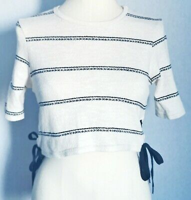 River Island Women's Jumper White Black Size 10 Cotton Mix Side Ties Cropped