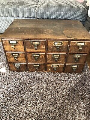 Very Old Vintage Wooden Pigeon Hole Drawer Cabinet
