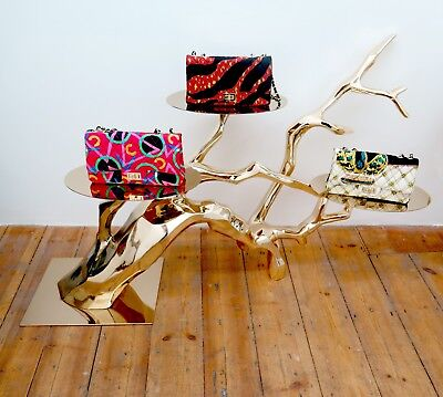 Gold Tree Branches Sculpture With Shelves Prop Metallic Jewellery Bags Display
