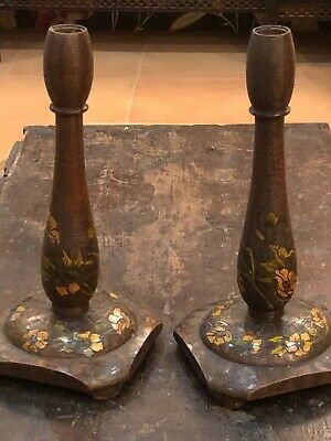 Pair Wood Antique Italian Arts & Crafts Pyrography  Lamp Bases / Candlesticks