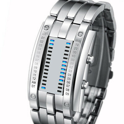 SKMEI Fashion Creative Stainless Steel Strap LED Display 5Bar Waterproof Watch