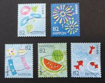 JAPAN USED 2019 SUMMER GREETINGS 82 yen 5 VALUE VF COMPLETE SET SC# 4297 a - e
