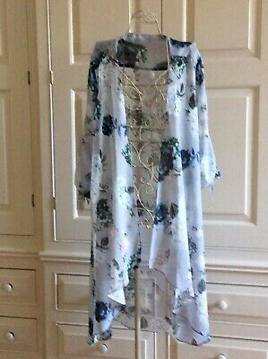 Lightweight Ladies Summer Dressing Gown Size 18 Dove Grey Floral