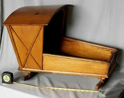 Antique primitive baby doll cradle pine mahogany decorated folk art 19th century