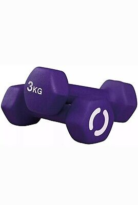 Opti Neoprene Dumbbell Set 2 X 3kg Weights (6 KG TOTAL) HOME WORKOUT GEAR - NEW!