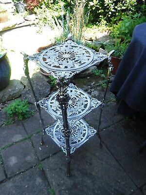 Antique Decorative Metal Three Tier Plant Pot Trivet Stand - Highly Polished