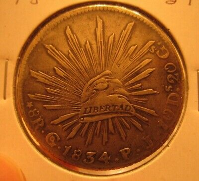 "Mexico 1834 ""CAP AND RAYS"" 8 Reale Scarce Early Date"