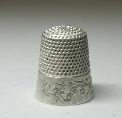 Antique Sterling Silver Scroll Band Thimble by Ketcham & McDougall * Circa 1900