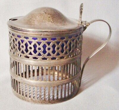 Vintage or Antique Webster Company Sterling Silver Mustard Pot W Cobalt Insert