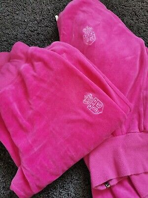 Juicy Couture Pink Velour Tracksuit Set Size Small Bottoms With Hooded Zip Top