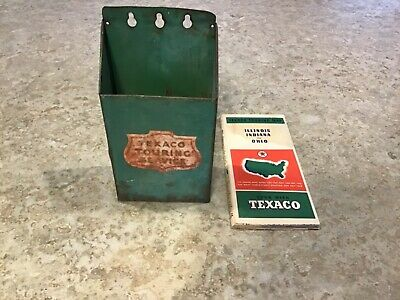 Vintage 1930's Texaco Touring Service Map Holder & 1937 Map