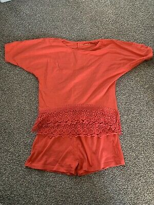 Girls Coral Pink Shorts T Shirt Set Size 7-8 Years Nutmeg George Next