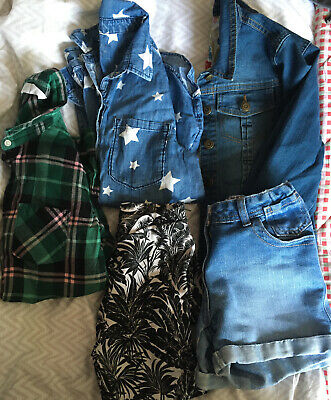 Girls 11-12 Years Bundle Denim Shorts, Jacket, Shirt  (5 Items) Gap H&M Indigo
