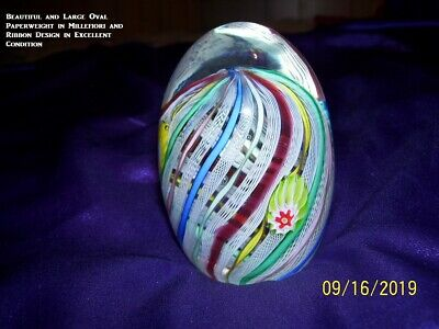 Beautiful Large Studio Art Glass Paperweight With Millefiori And Flower Design