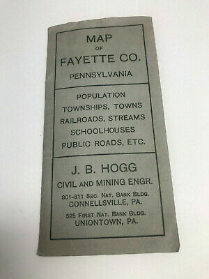 Fayette County Map Township 1911-1912 JB Hogg civil & mining engineer