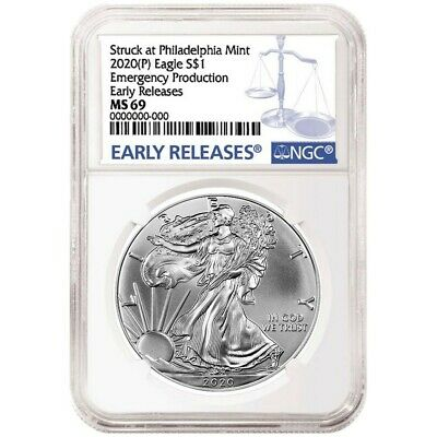 2020(P) Emergency Production American Silver Eagle - NGC MS69 Early Releases