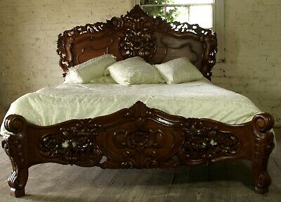Mahogany Rococo Antique Carved 6' Super King Size Louis Chateau French Bed  NEW