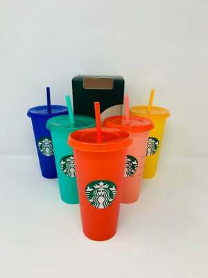 Starbucks COLOR-CHANGING 2020 Reusable Cold Cups 24oz Rare Color Tumblers! Summe