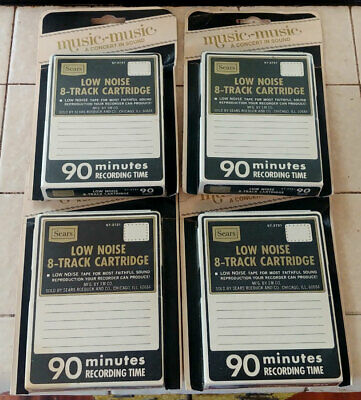 4 Sealed 90 Min Blank Sears 8 Track Tapes