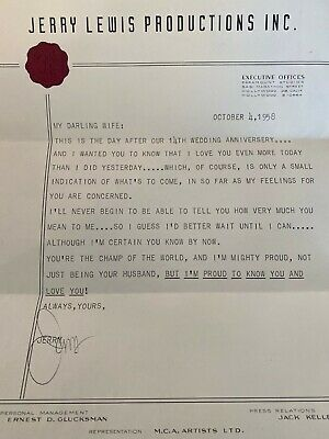 RARE Signed JERRY LEWIS Letter to Wife 1958