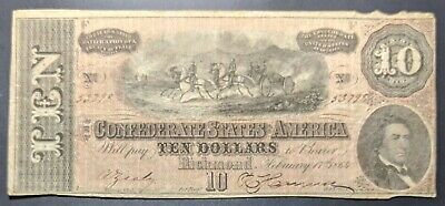 Confederate States of America *T68* 1864 $10 Note * FREE SHIPPING * NO RESERVE
