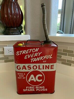 RARE Vtg 1960 AC Fire Ring Spark Plugs Advertising 2 Gallon Gasoline Station Can