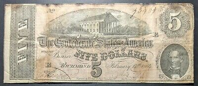 Confederate States of America *T69* 1864 $5 Note * FREE SHIPPING * NO RESERVE