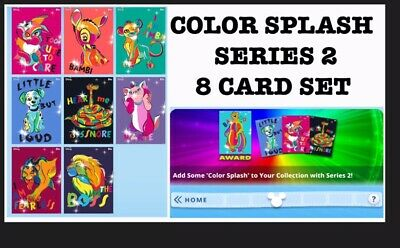 Color Splash Series 2 Set-8 Cards-Topps Disney Collect Digital