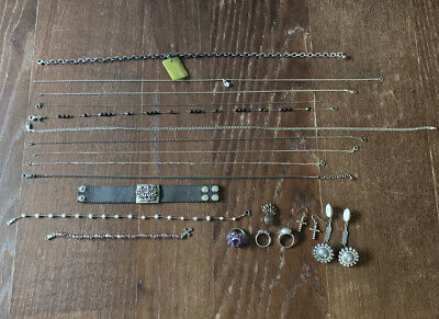 Sterling Silver Jewelry Lot All Wearable. 925 Hallmarks, 114g~, Rings, Necklaces