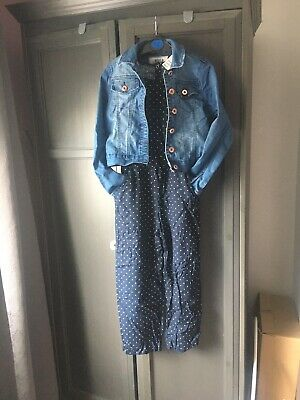 BNWT Girls Age 8-9 Navy Polka Dot Jumpsuit From H&M