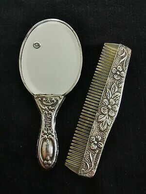 ANTIQUE Silver Small Comb and Mirror Set
